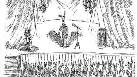 Der schüchterne Hase versagt bei einem Auftritt in der Vorschule, weil er zu schüchtern ist.