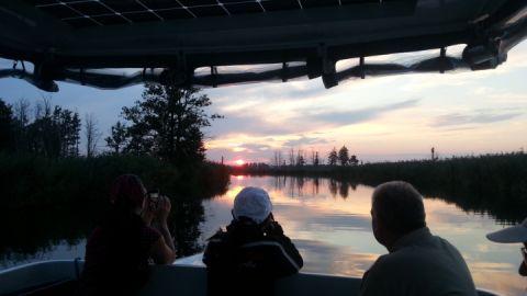 Abendliche Naturführung im Solarboot