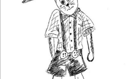 Der schüchterne Hase - Schwarz-weiß-Zeichnung